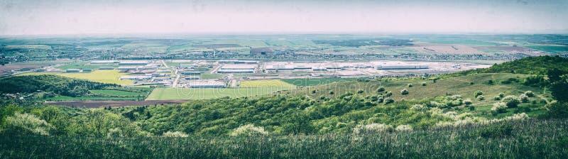 Parque industrial en Nitra, Eslovaquia, filtro análogo fotos de archivo libres de regalías