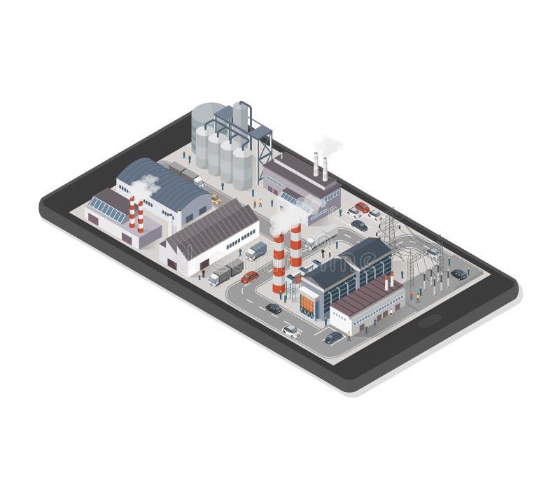 Parque industrial en un smartphone stock de ilustración