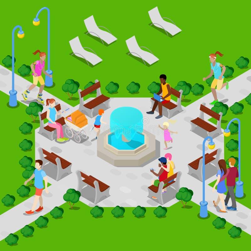 Parque isométrico de la ciudad con la fuente Gente activa que camina en parque Vector ilustración del vector