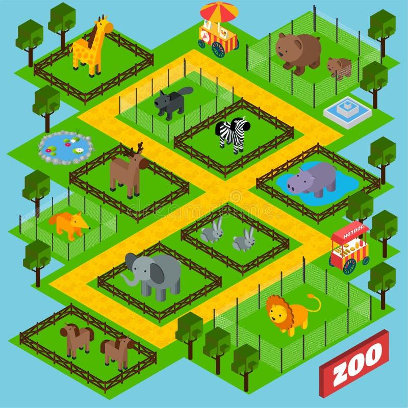 Parque isométrico del parque zoológico ilustración del vector