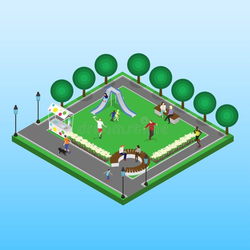 Parque isométrico del vector libre illustration