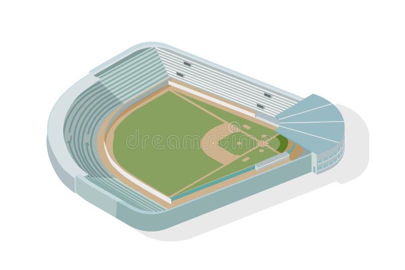 Parque isométrico do basebol, campo de beisebol, diamante Estádio ou arena moderna isolado no fundo branco Local de encontro de e ilustração stock