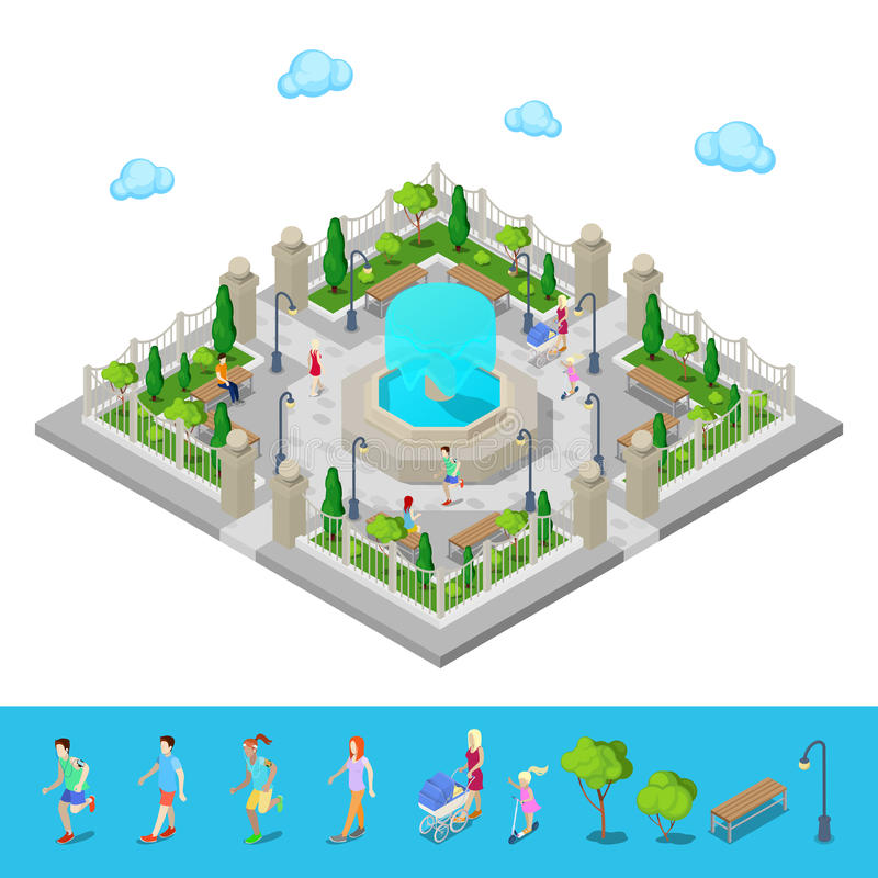 Parque isométrico Parque da cidade Povos ativos ao ar livre ilustração royalty free