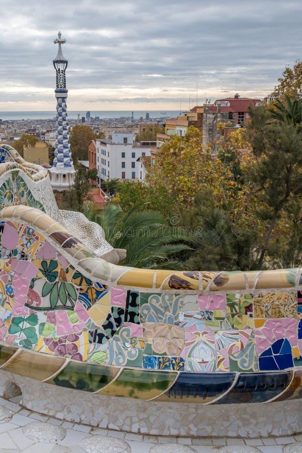 Parque lindo e surpreendente Guel em Barcelona spain imagens de stock