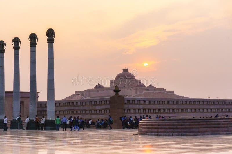 Parque Lucknow de Ambedkar disparado no por do sol fotografia de stock