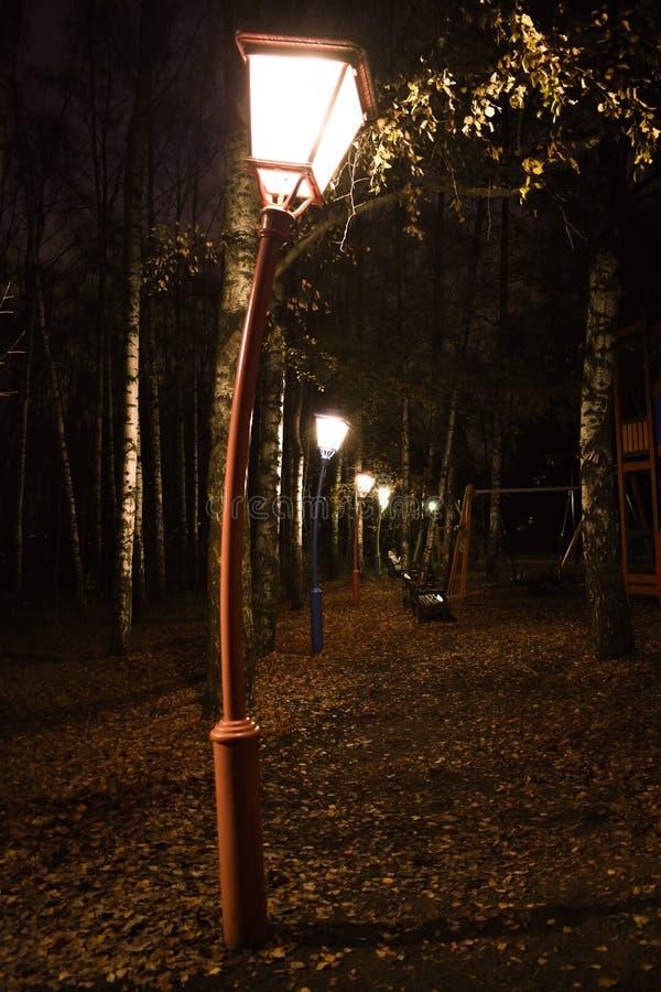 parque misterioso, a lanterna antiga curvada fotos de stock royalty free