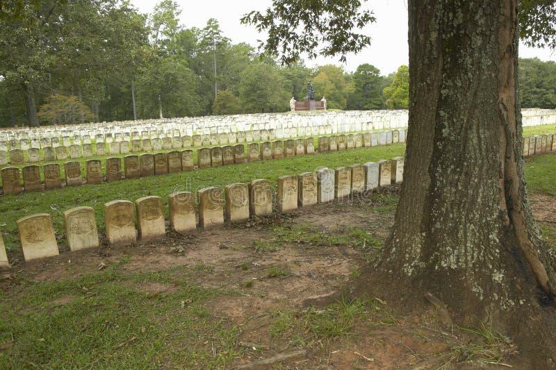 Parque nacional Andersonville o campo Sumter, un sitio histórico nacional en Georgia, sitio de la prisión confederada y del cemen imagenes de archivo