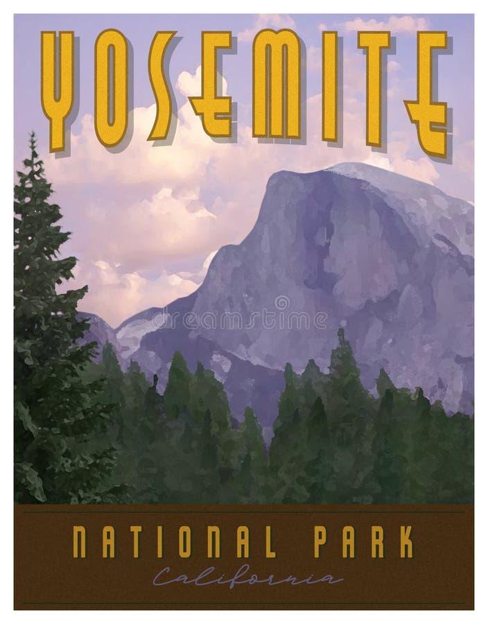Parque nacional Art Poster Print de Yosemite imagen de archivo