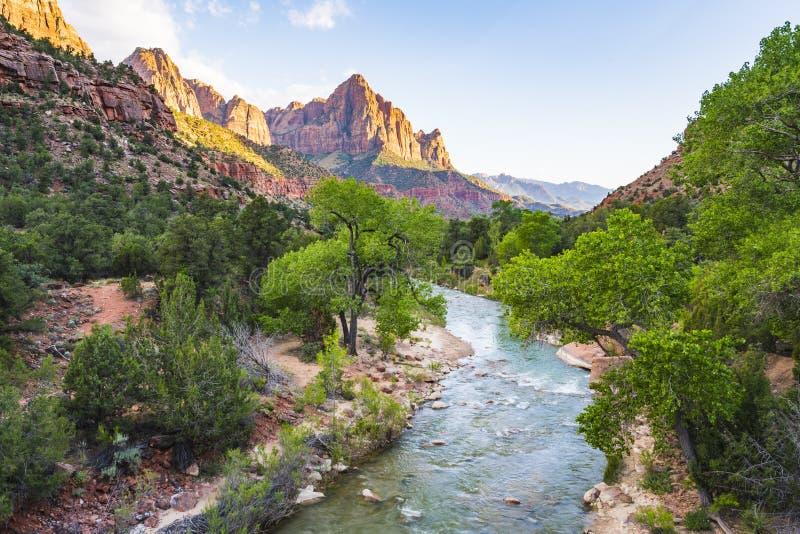 Parque nacional bonito no dia ensolarado, Utá de Zion, EUA imagens de stock royalty free