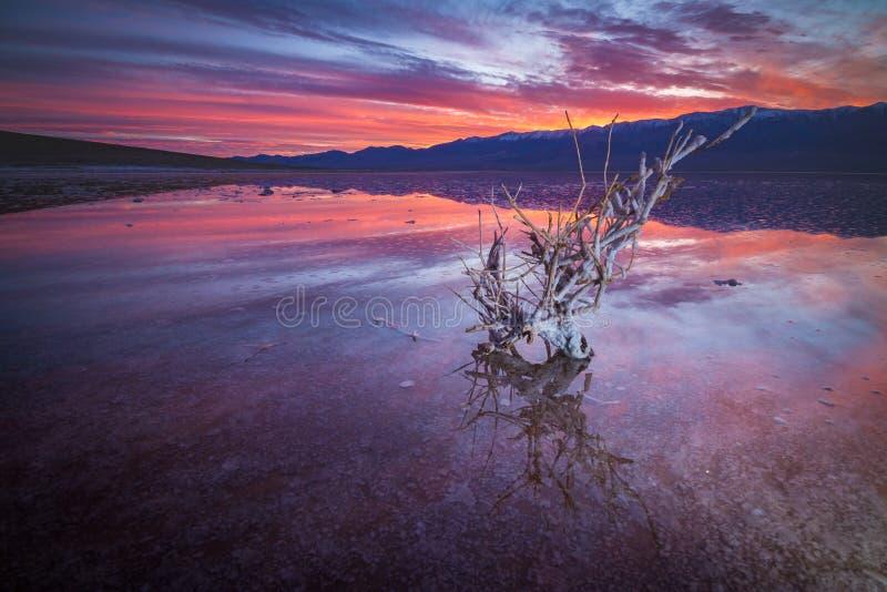 Parque nacional de Death Valley después de la puesta del sol hermosa imágenes de archivo libres de regalías