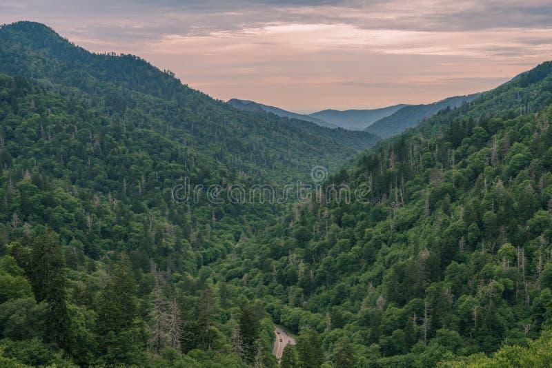 Parque nacional de Great Smoky Mountains da paisagem da vista fotografia de stock