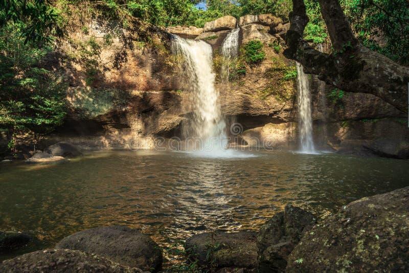 Parque nacional de Khao Yai da cachoeira de Haew Suwat foto de stock