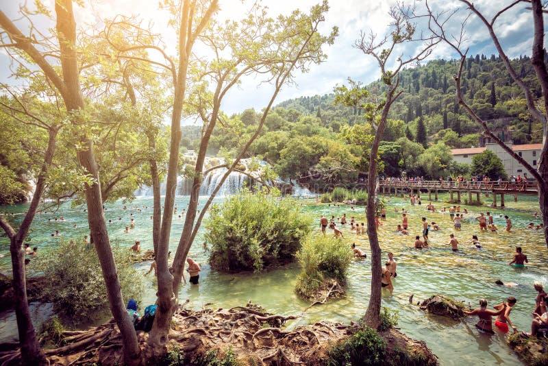 Parque nacional de Krka con las cascadas fotos de archivo
