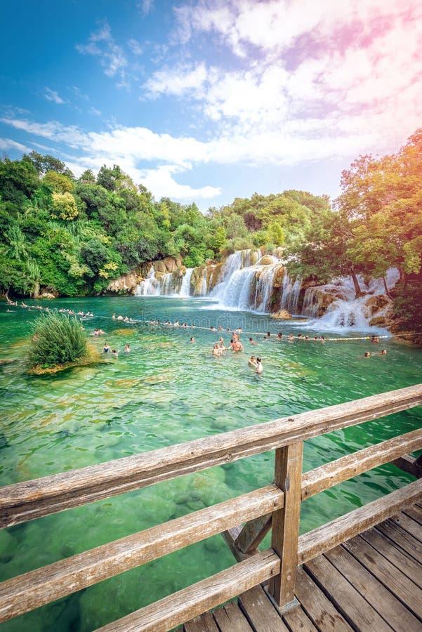 Parque nacional de Krka con las cascadas foto de archivo