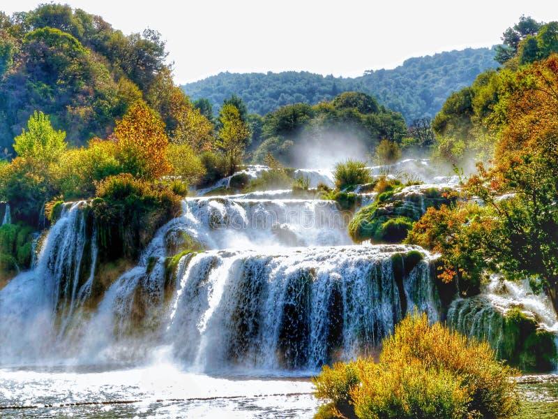 Parque nacional de Krka, Croatia Una vista de las cascadas fotografía de archivo