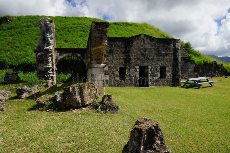 Parque nacional de la fortaleza de la colina del azufre, detalle de las ruinas en una sol brillante, santo San Cristobal y Nevis imagen de archivo libre de regalías