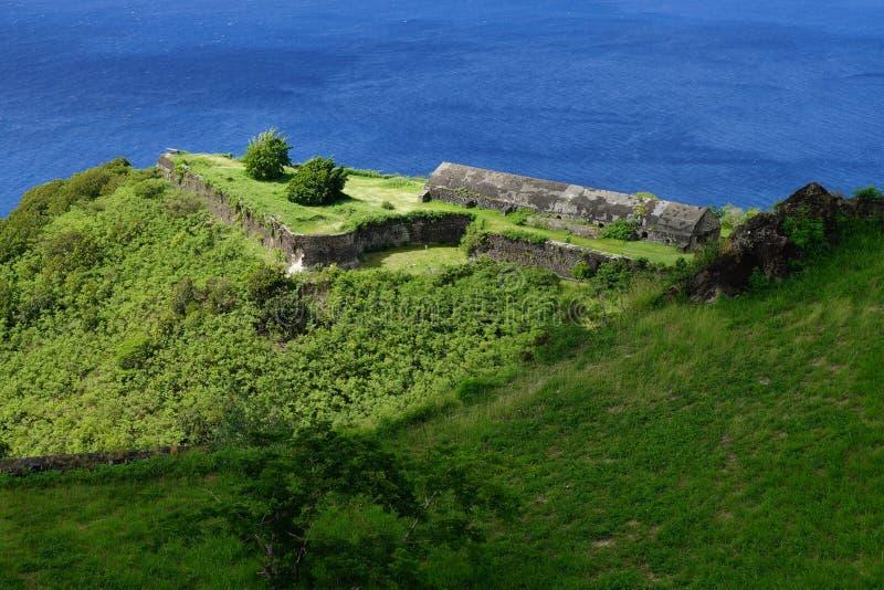 Parque nacional de la fortaleza de la colina del azufre, santo San Cristobal y Nevis imagen de archivo