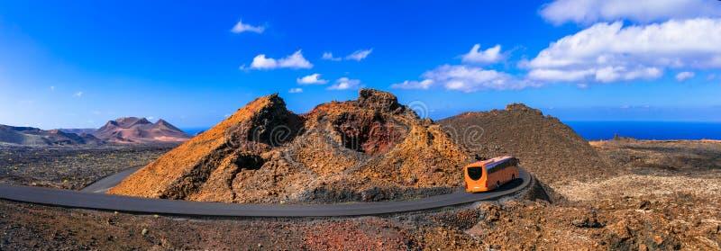 Parque nacional de Lanzarote Timanfaya, con la forma volcánica única imágenes de archivo libres de regalías
