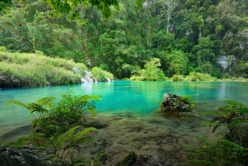 Parque nacional de las cascadas hermosas en Guatemala Semuc Champey en su imagenes de archivo