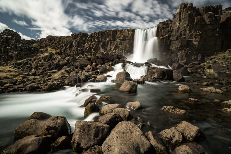 Parque nacional de Oxararfoss - de Thingvellir, Islândia imagens de stock