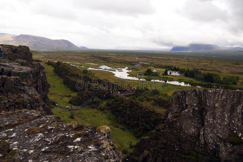Parque nacional de Thingvellir e lago Thingvallavatn em Islândia soutwestern fotografia de stock royalty free