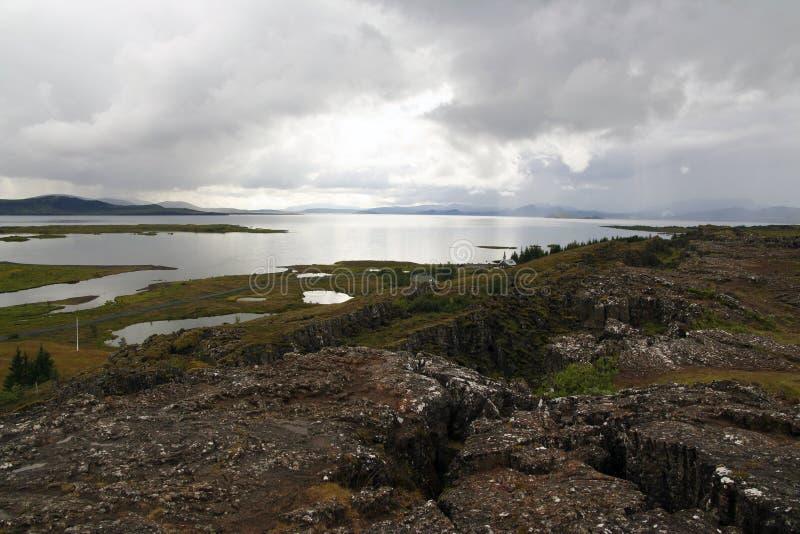 Parque nacional de Thingvellir e lago Thingvallavatn em Islândia soutwestern foto de stock