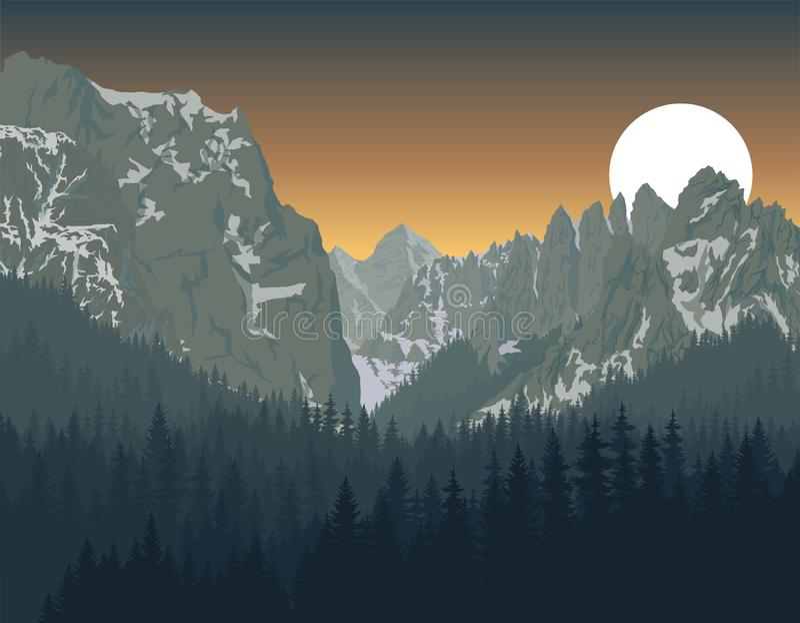 Parque nacional de Yosemite con el bosque del arbolado stock de ilustración