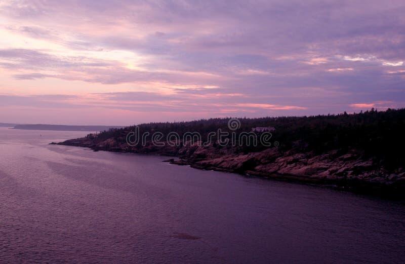 Parque nacional do Acadia no crepúsculo imagens de stock