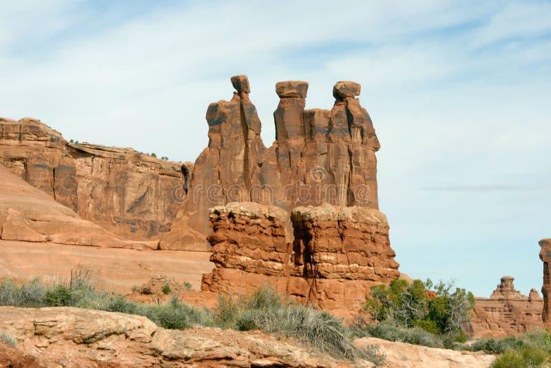 Parque nacional dos arcos, os três Gospis fotografia de stock