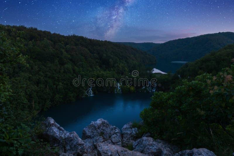 Parque nacional dos lagos Plitvice, paisagem bonita com cachoeiras, lagos e floresta, Croácia imagem de stock
