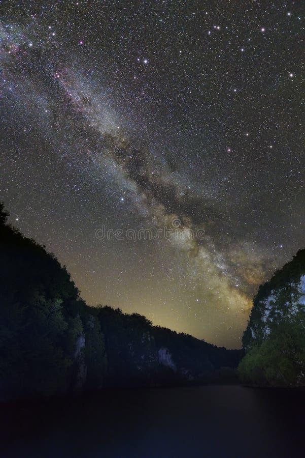 Parque nacional Plitvice do formulário da Via Látea, Croácia foto de stock
