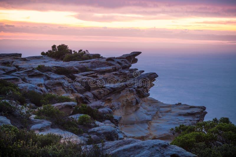 Parque nacional real da costa do penhasco dos céus do alvorecer fotografia de stock
