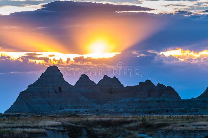 Parque nacional South Dakota do ermo bonito do por do sol imagens de stock royalty free