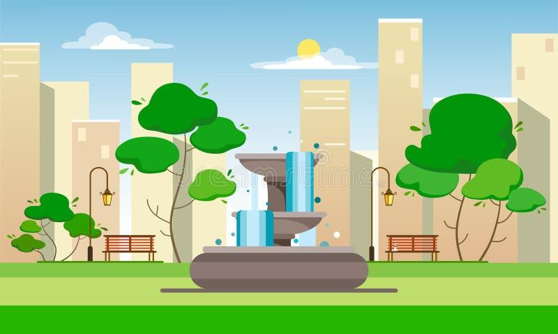 Parque público com uma fonte, os bancos, as lanternas e as árvores na perspectiva da cidade e dos arranha-céus Illustrati liso do ilustração do vetor