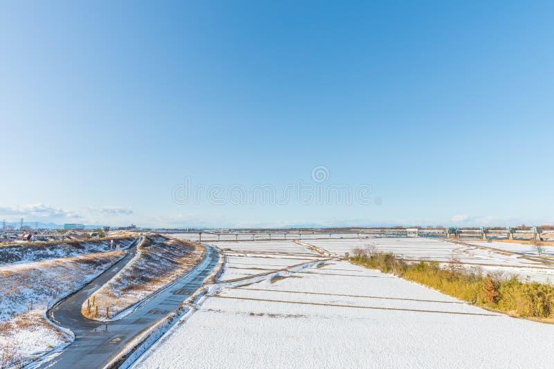 Parque público con la nieve blanca fotos de archivo