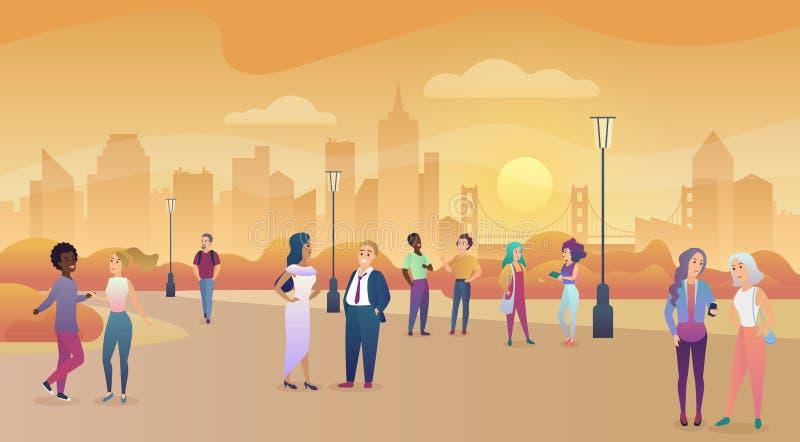 Parque público de la ciudad en puesta del sol Comunicación de la gente, ejemplo enjoing del vector del tiempo libre illustration