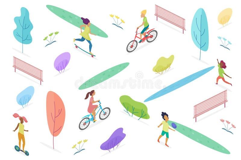 Parque público isométrico con caminar, montar y jugar a los niños aislados Parque de atracciones para el ejemplo del vector de lo ilustración del vector