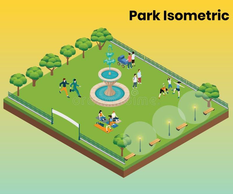 Parque para o entretenimento para o conceito isométrico da arte finala das crianças ilustração stock