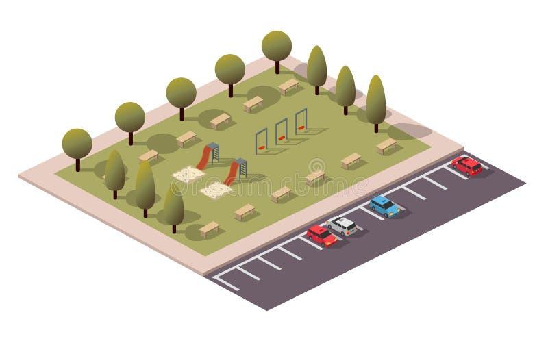 Parque que juega isométrico del vector ilustración del vector