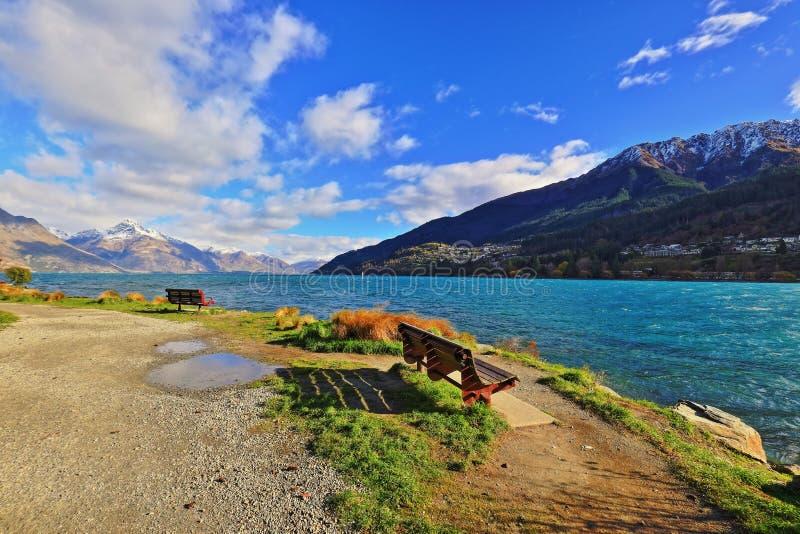 Parque Queenstown Nueva Zelanda de Wakatipu del lago fotografía de archivo libre de regalías