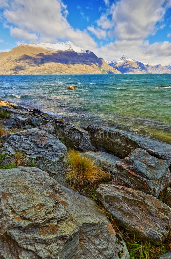 Parque Queenstown Nueva Zelanda de Wakatipu del lago fotos de archivo