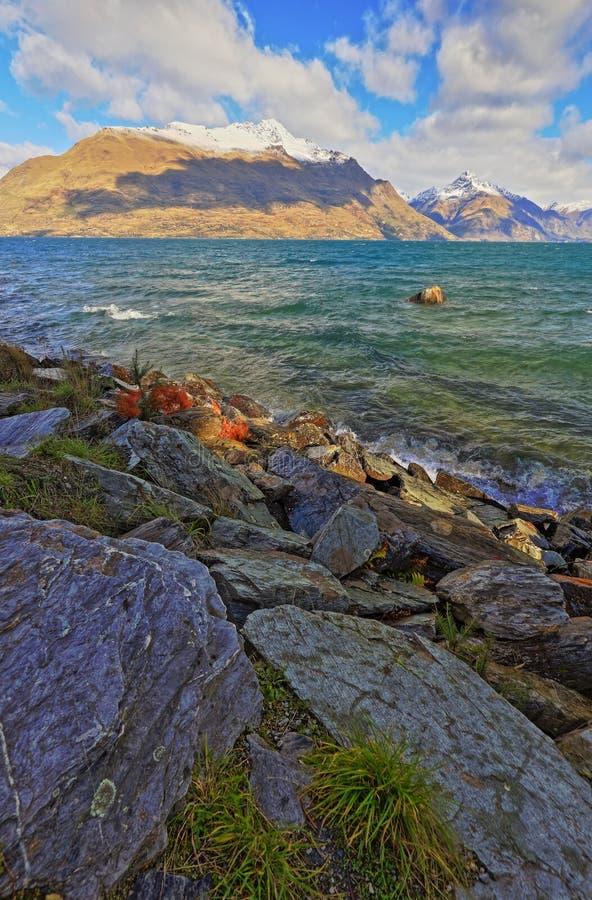 Parque Queenstown Nueva Zelanda de Wakatipu del lago imagen de archivo