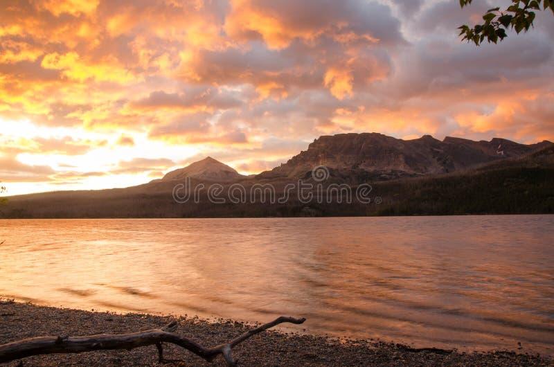 Parque-salida del sol del nacional del glaciar foto de archivo libre de regalías