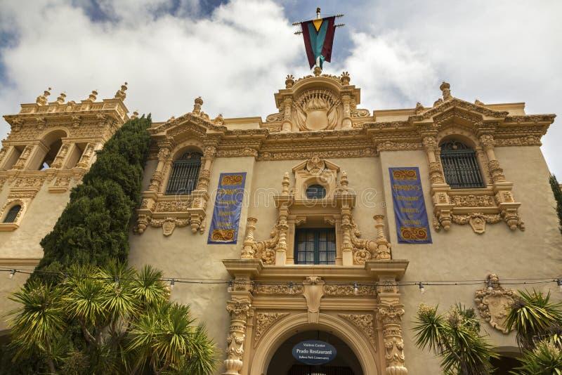 Parque San Diego del balboa de la entrada del restaurante de Prado del centro del visitante fotografía de archivo