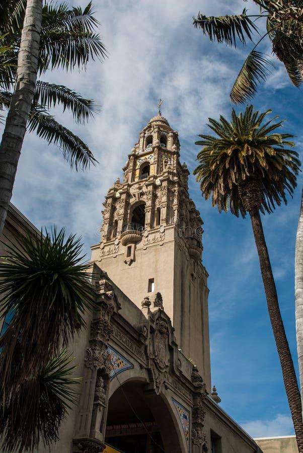 Parque San Diego del balboa de la torre de California fotos de archivo