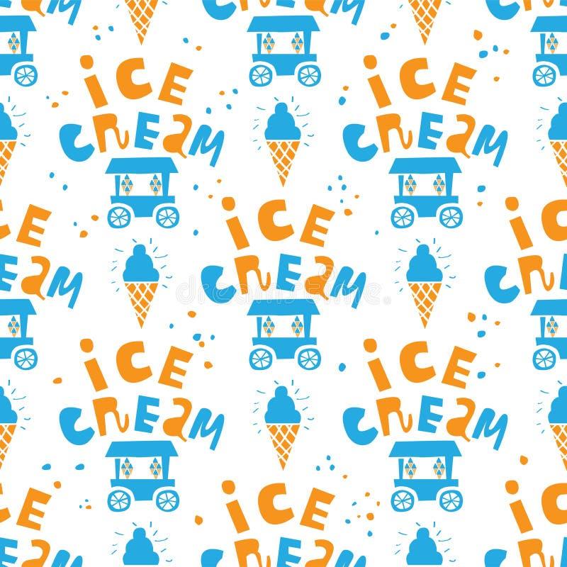Parque sem emenda do teste padrão Pavilhões com gelado e bebidas ilustração stock