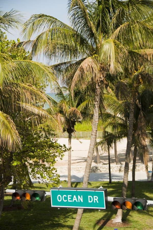 Parque sul miami da praia do sinal de rua da movimentação do oceano imagens de stock royalty free