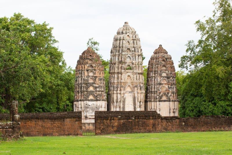 Parque TAILÂNDIA de Wat Si Sawai Sukhothai Historical imagem de stock