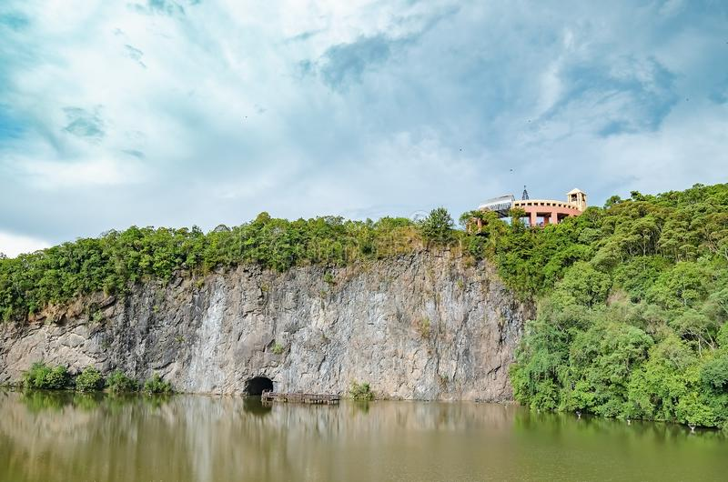 Parque Tangua - Curitiba PR, Brazil. Curitiba - PR, Brazil - December 16, 2018: View of the lake and the observatory mirante on top of the Tangua Park Parque royalty free stock photography