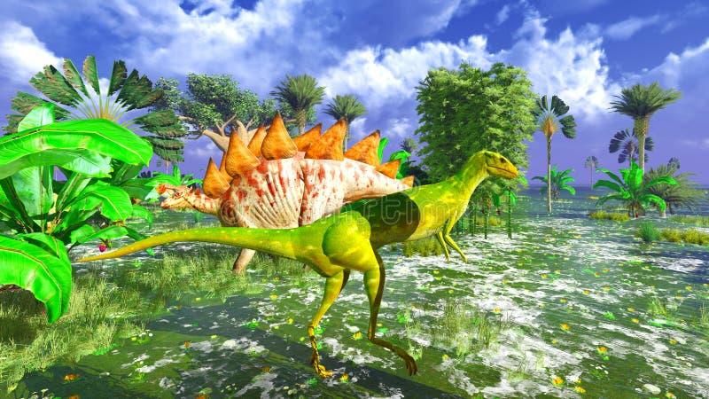 Parque tropical del dinosaurio ilustración del vector
